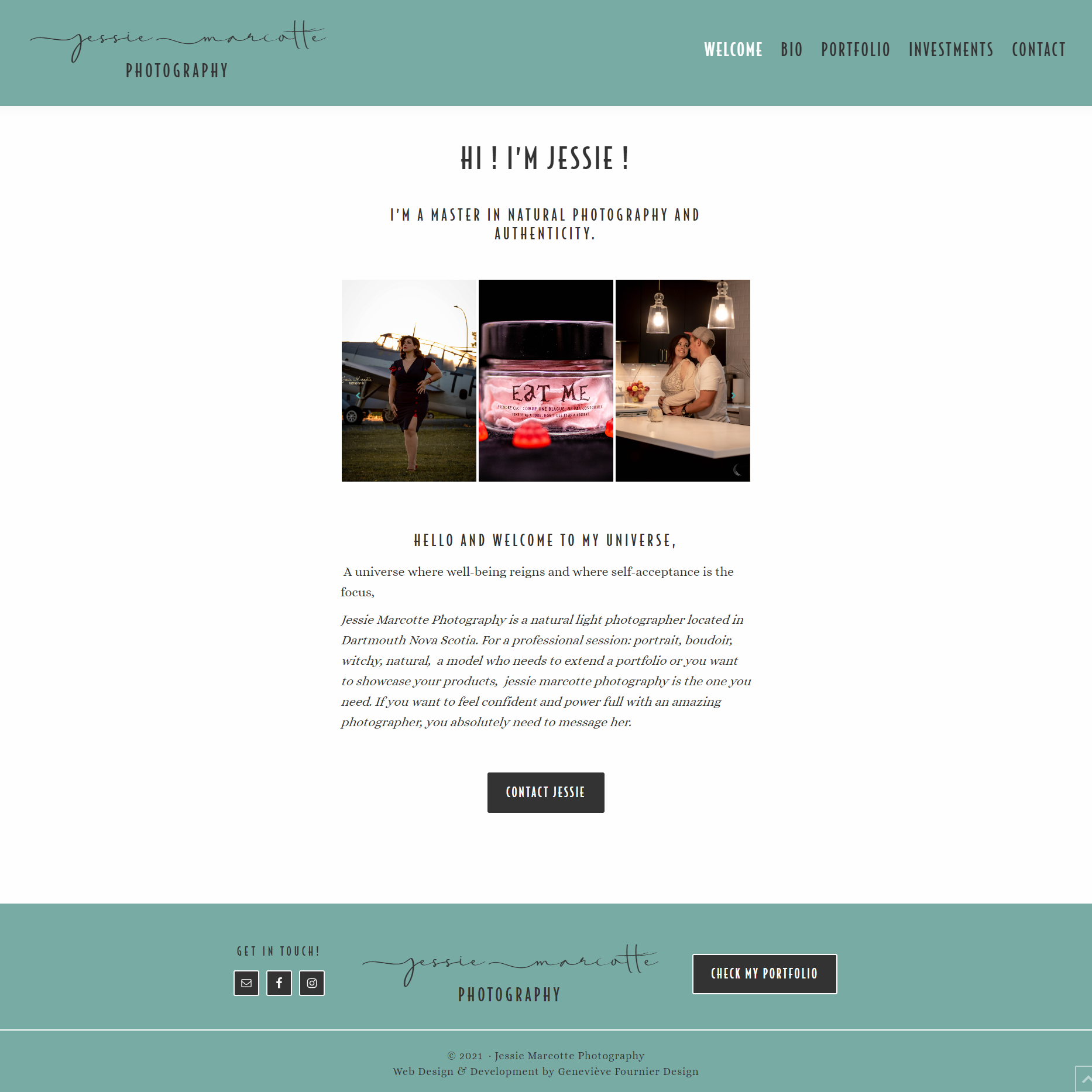 Page d'accueil de Jessie Marcotte pour le portfolio de Fais ta marque