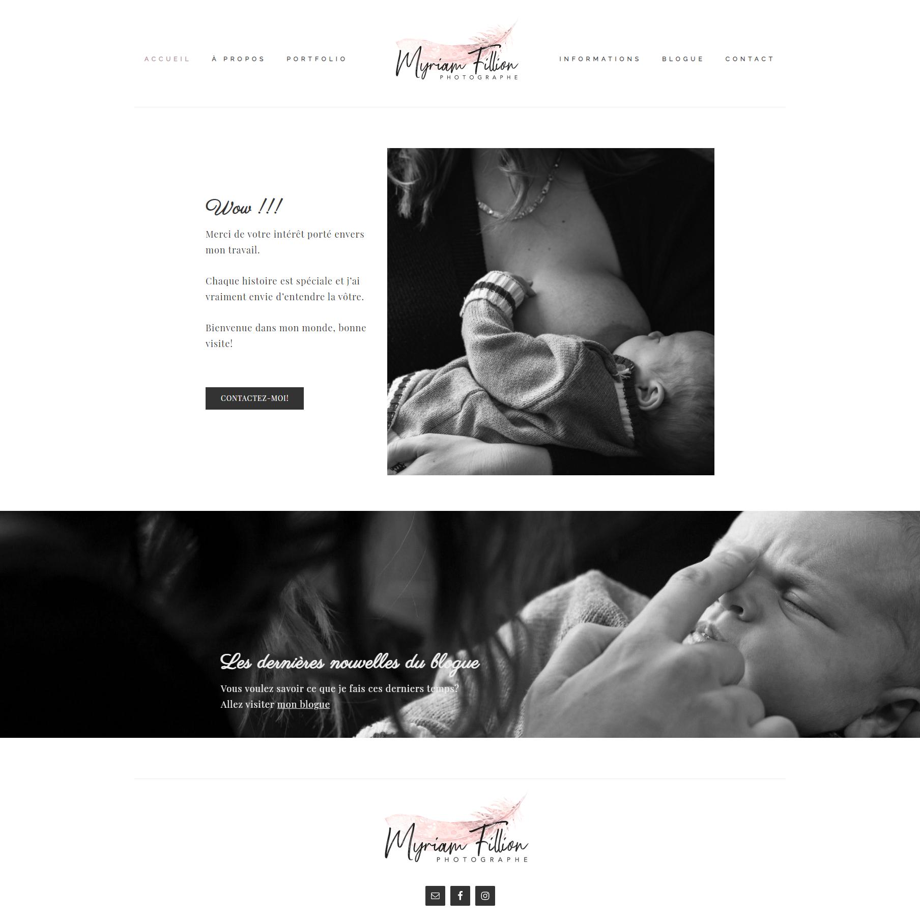 Page d'accueil de Myriam Fillion pour le portfolio de Fais ta marque