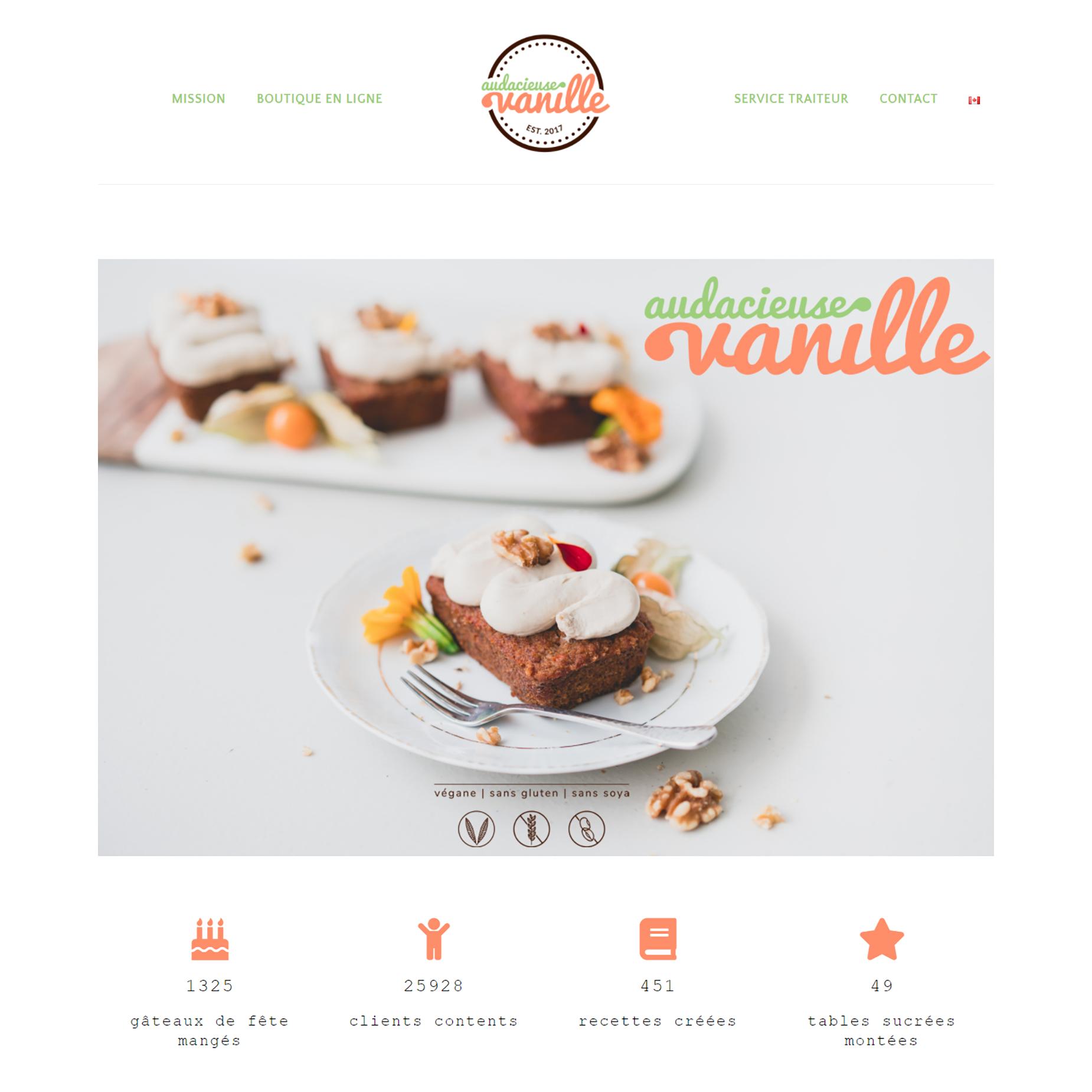 Page d'accueil d'Audacieuse Vanille pour le portfolio de Fais ta marque